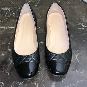 St. John Quilted Black Ballet Flats Size 8 1/2